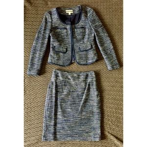 Banana Republic Blue Tweed Suit Jacket and Skirt